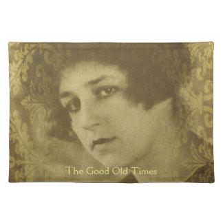 Vintage chic young woman portrait cloth placemat