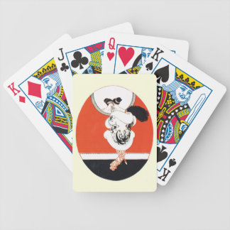 Vintage, chica retro con un espejo baraja de cartas
