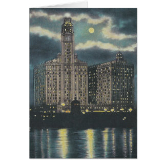 Vintage Chicago At Night Greeting Card