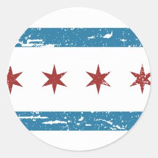 Vintage CHICAGO Flag Classic Round Sticker