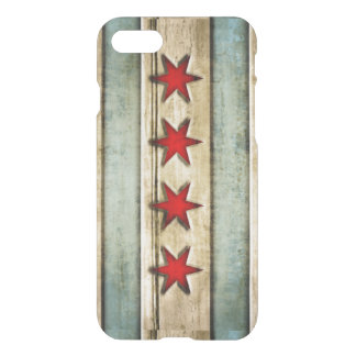 Vintage Chicago Flag Distressed Wood Look iPhone 7 Case