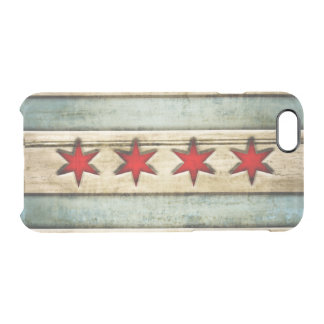 Vintage Chicago Flag Distressed Wood Look Uncommon Clearly™ Deflector iPhone 6 Case