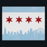 """Vintage Chicago Flag Poster<br><div class=""""desc"""">Show off your Chicago Pride with this flag &amp; skyline combo poster!</div>"""