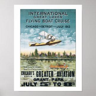 Vintage Chicago Flying Boat Cruse Travel Poster