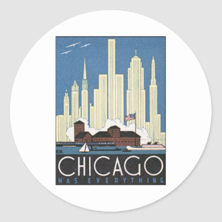 Vintage Chicago Illinois Classic Round Sticker
