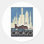 Vintage Chicago Illinois Etiqueta Redonda