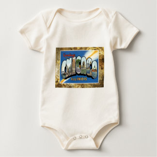 Vintage Chicago Illinois Greetings Post Card Baby Bodysuit