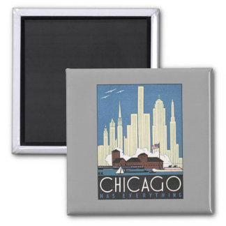 Vintage Chicago Illinois 2 Inch Square Magnet
