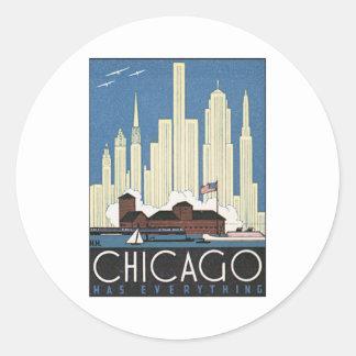Vintage Chicago Illinois Pegatina Redonda