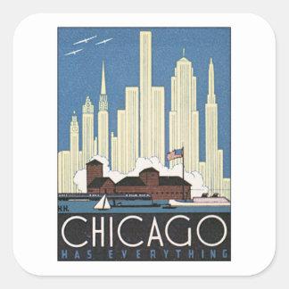 Vintage Chicago Illinois Square Sticker