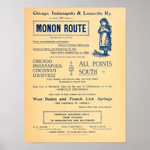 Vintage Chicago Indianopolis Louisville Railway ad Poster