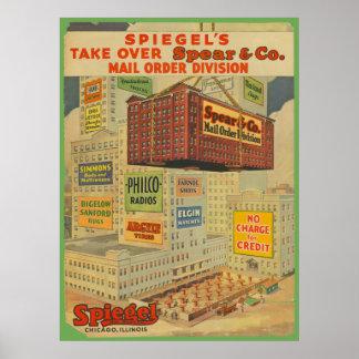 Vintage Chicago Industrial Age Buildings Print