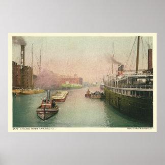 Vintage Chicago River Poster