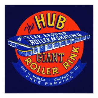 """Vintage Chicago Roller Rink 5.25"""" Square Invitation Card"""
