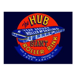 Vintage Chicago Roller Rink Postcard