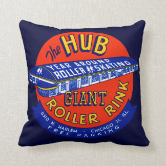 Vintage Chicago Roller Rink Throw Pillow