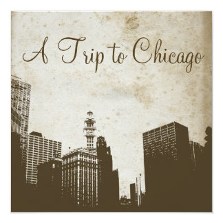 "Vintage Chicago Skyline Artwork Invitation 5.25"" Square Invitation Card"