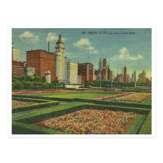 Vintage Chicago Skyline Postcard