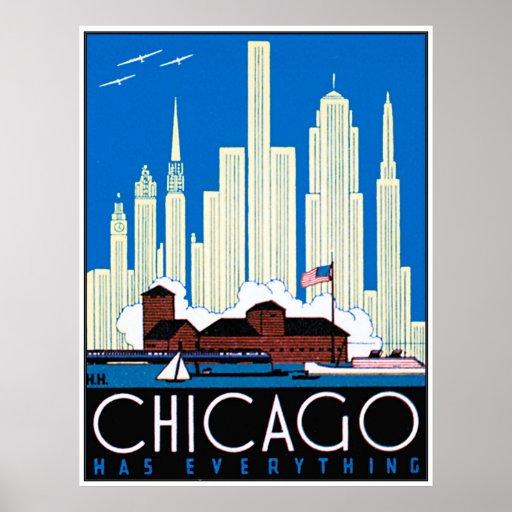 Vintage chicago skyline poster for Vintage chicago posters