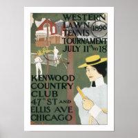 Vintage Chicago Tennis Poster