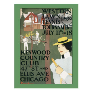 Vintage Chicago Tennis Poster Post Card