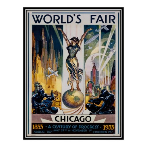 Vintage chicago usa poster zazzle for Vintage chicago posters