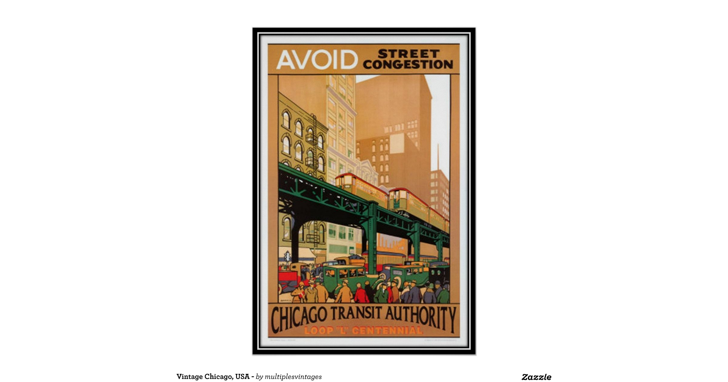 Vintage chicago usa poster for Vintage chicago posters