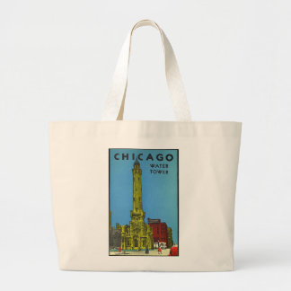 Vintage Chicago Water Tower Large Tote Bag