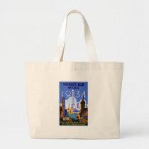 Vintage Chicago World's Fair 1934 Ad Large Tote Bag