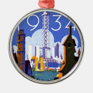 Vintage Chicago World's Fair 1934 Ad Metal Ornament
