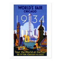 Vintage Chicago World's Fair 1934 Ad Postcard