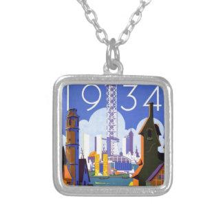 Vintage Chicago World's Fair 1934 Ad Square Pendant Necklace