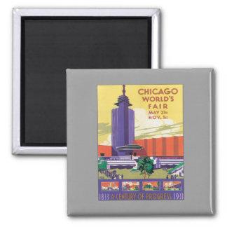 Vintage Chicago World's Fair 2 Inch Square Magnet
