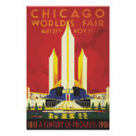 Vintage Chicago Worlds Fair Poster 1933