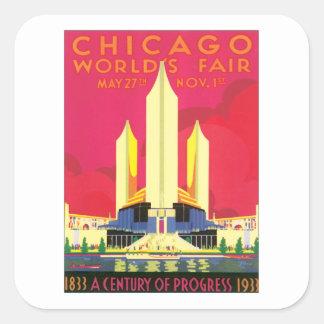 Vintage Chicago World's Fair Square Sticker