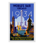 Vintage Chicago Worlds Fair Travel Poster 1934