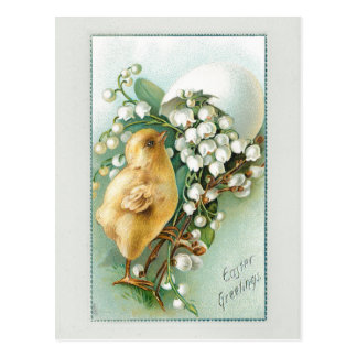 Vintage Chick, Easter Egg and Lily of the Valley Postcard