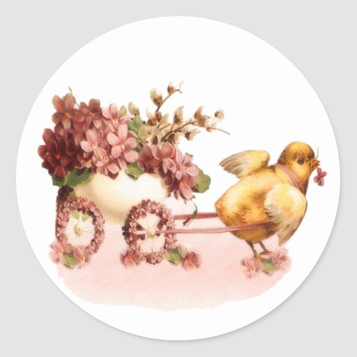 Vintage Chick Easter Round Stickers