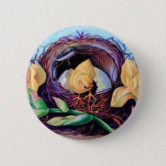 Vintage Chick in Nest of Irises Button