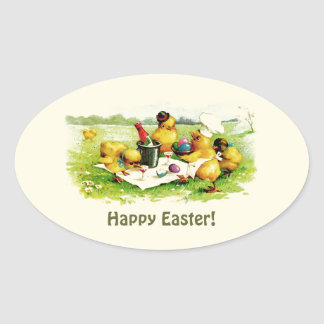 Vintage Chicken Family. Easter Gift Stickers