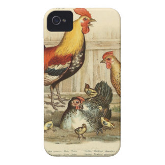 Vintage Chicken family illustration iPhone 4 Cover