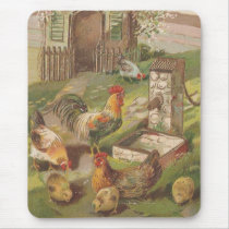 Vintage Chicken Family Mouse Pad
