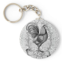 Vintage Chicken Illustration Keychain