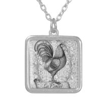 Vintage Chicken Illustration Silver Plated Necklace