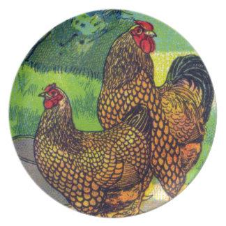Vintage Chicken Print Melamine Plate