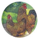 Vintage Chicken Print Plates