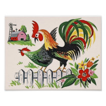 Vintage Chicken Print Rooster and Hen on the Farm