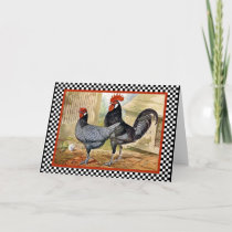 Vintage Chicken Rooster Card
