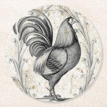 Vintage Chicken Round Paper Coaster