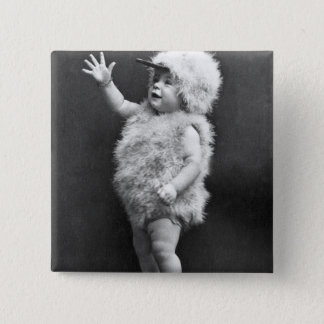 Vintage Chicken Suit Girl Easter Costume Button